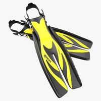 Swim Fins 3 Yellow 3D Model