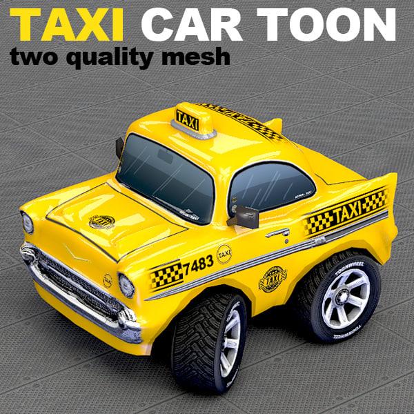 toon taxi car 3d c4d