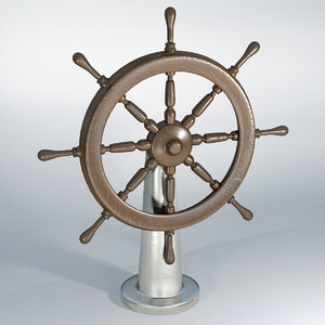 3d model ship wheel historic wood
