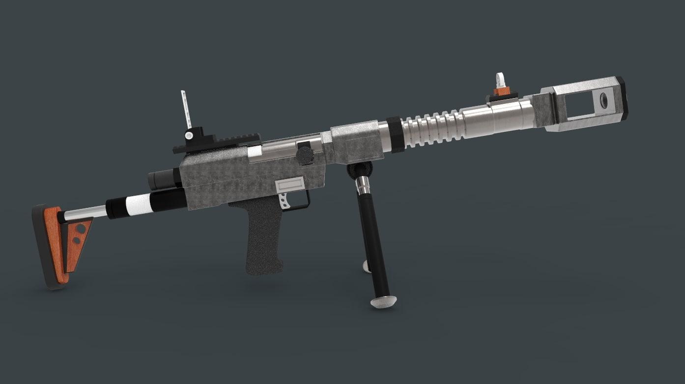 3d bolt-action grenade launcher concept