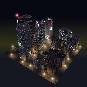 night time skyscraper city block 3d max