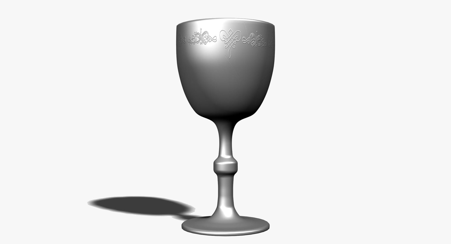 3d silver medieval cup