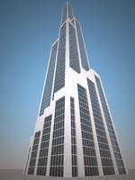 3d model low-poly skyscraper