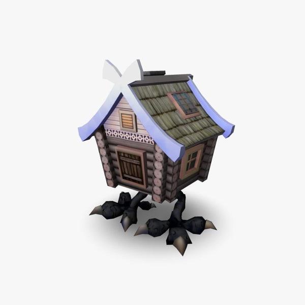 3d walking hut cartoon house model
