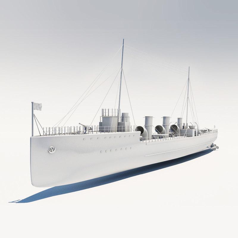 high-poly russian novik ships 3d model