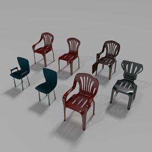 3d model plastic chair