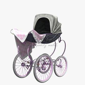vintage baby stroller c4d