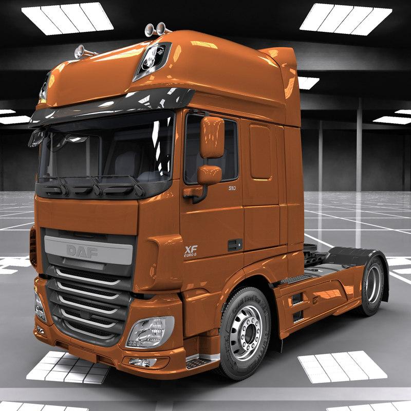daf xf euro 6 3d model