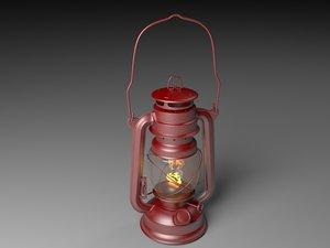 vintage oil lamp light flame 3d model