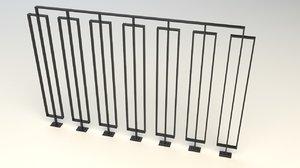 steel railing 3d max