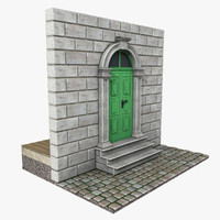 3ds max old green door