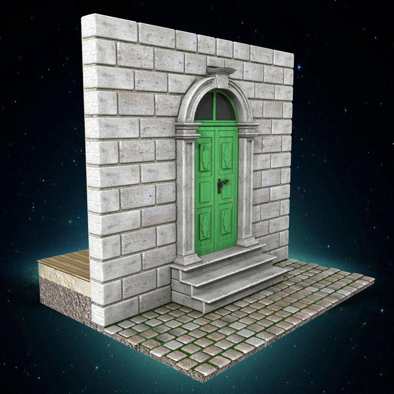 3ds max old green door