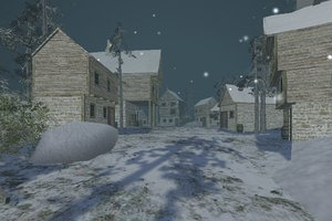 3d snowy village snow model