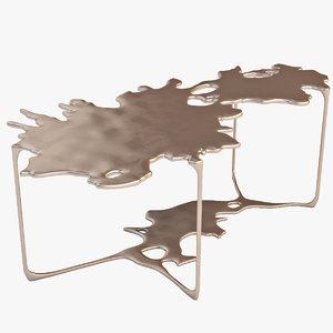 3d bronze puddle cocktail model
