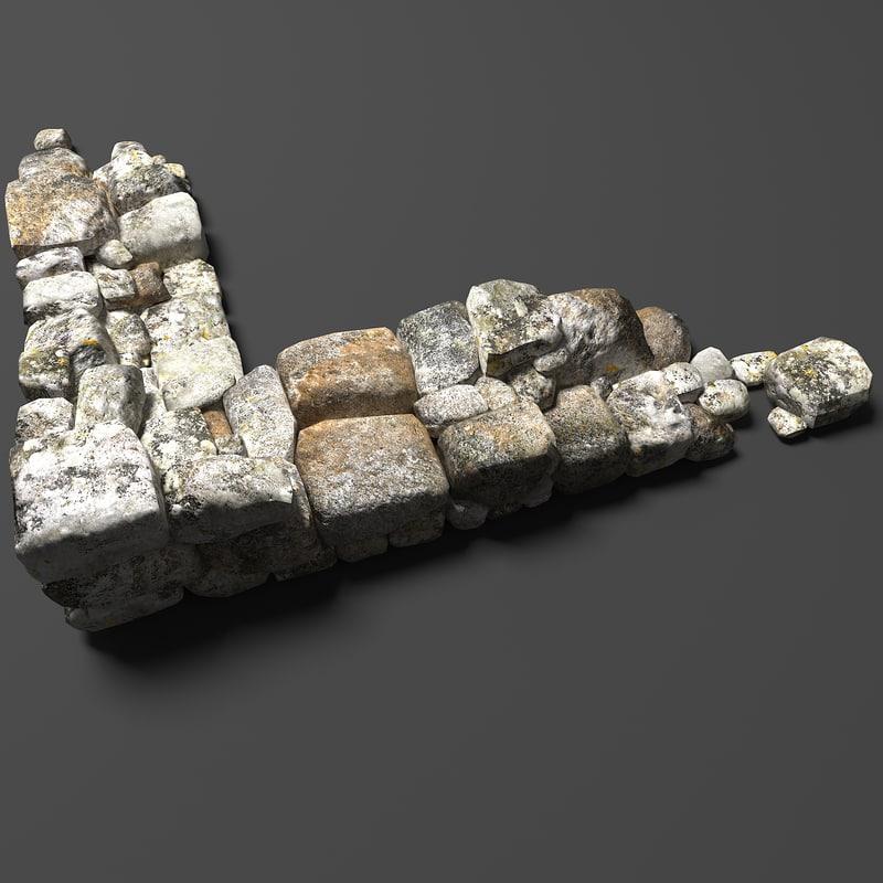 stones wall b 3d obj