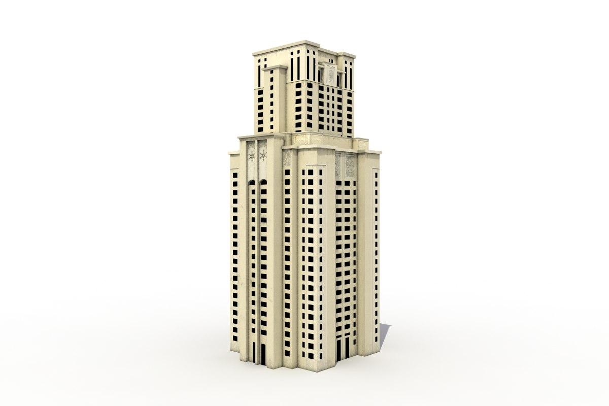 3d tall building oriental model