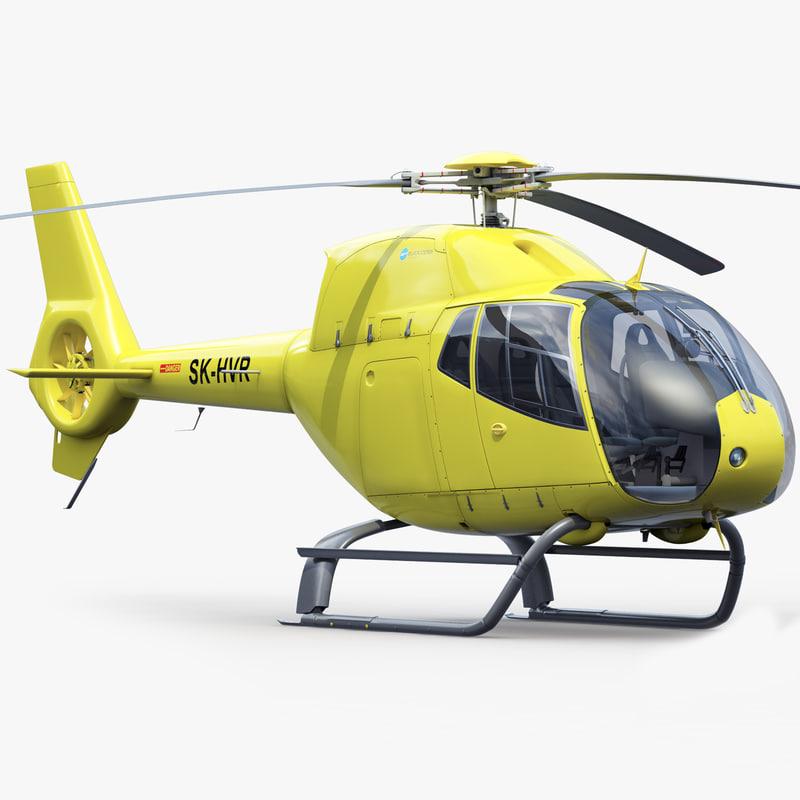 eurocopter h 120 yellow 3d obj