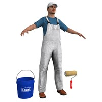 3d model paint worker 1 man