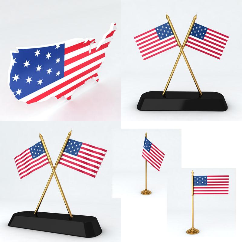 country flag 3d model