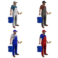 3d pack rigged paint worker model