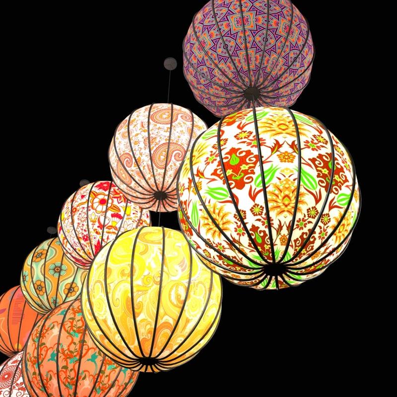 light paper lanterns 3d max