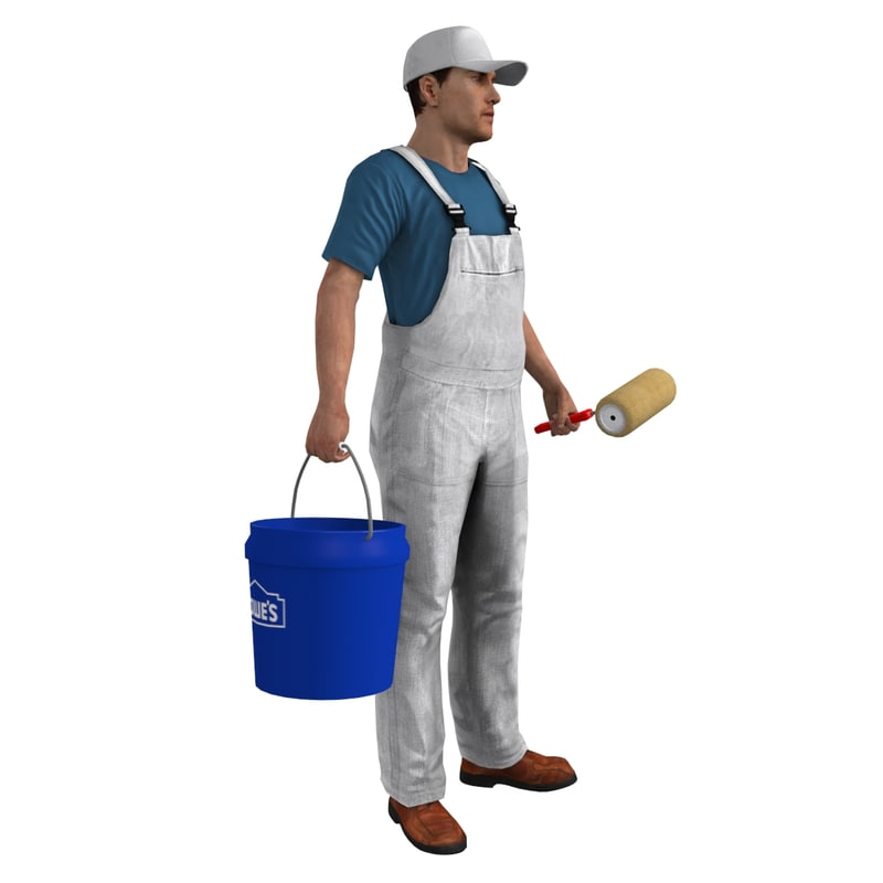 rigged paint worker 1 3d max