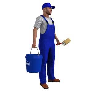 rigged paint worker man 3d max