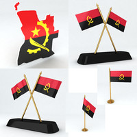 Angola flags and Map 3d Model