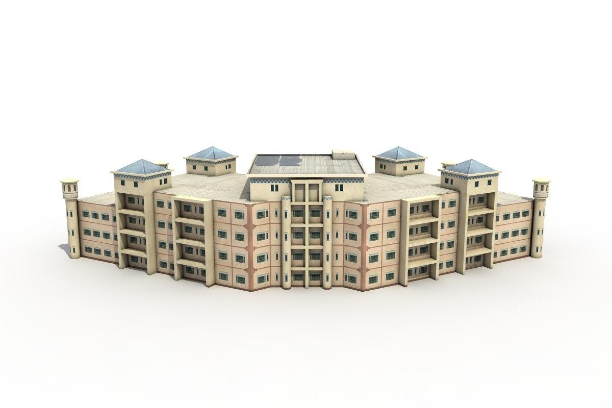 residential block flats 3d max