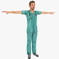 realistic male nurse rigged 3d obj