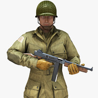 3d rig soldier ww2 paratrooper