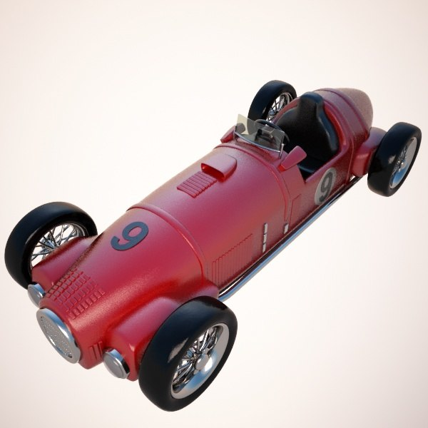 3d model cartoon vintage racing