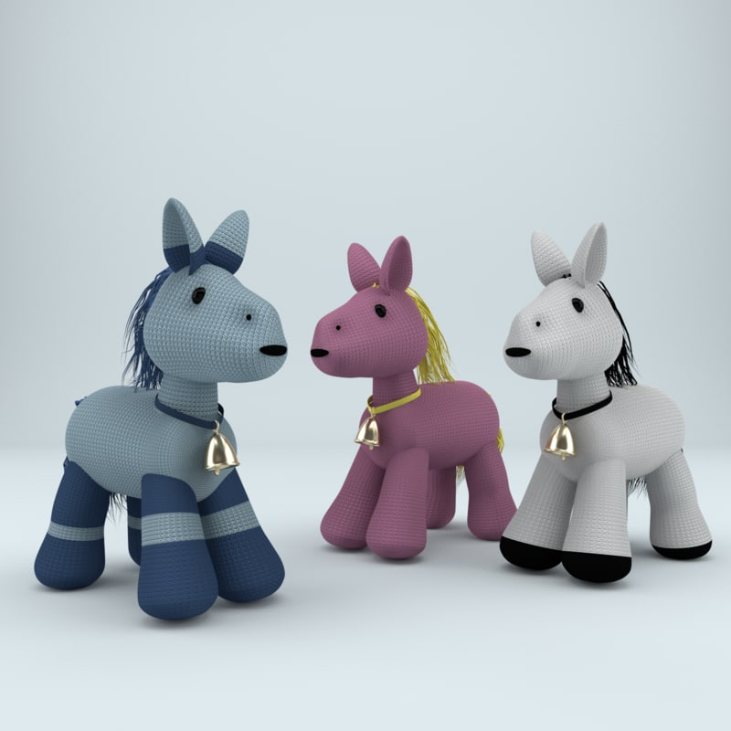 3d model of knitted toy horse