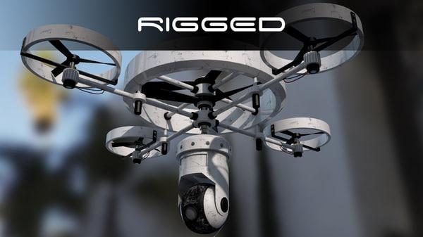 modern surveillance drone 3d c4d