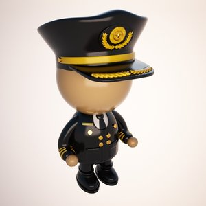 3d pilot character cartoon