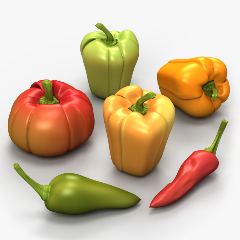 set bell peppers 3d model