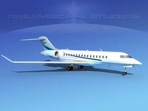 3d global express bombardier 8000 model