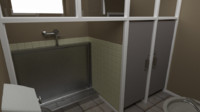 bathroom bath public 3d model