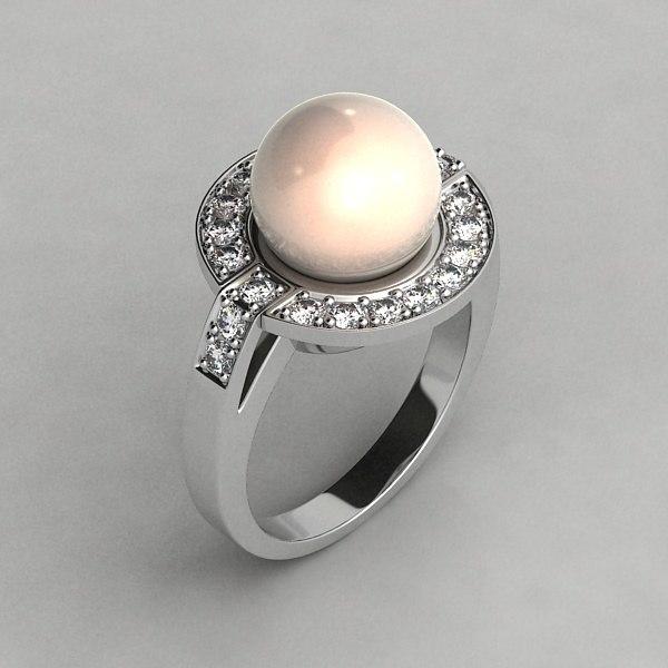 white gold ring 3d x