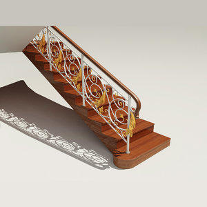 3d wooden staircase classic railings model