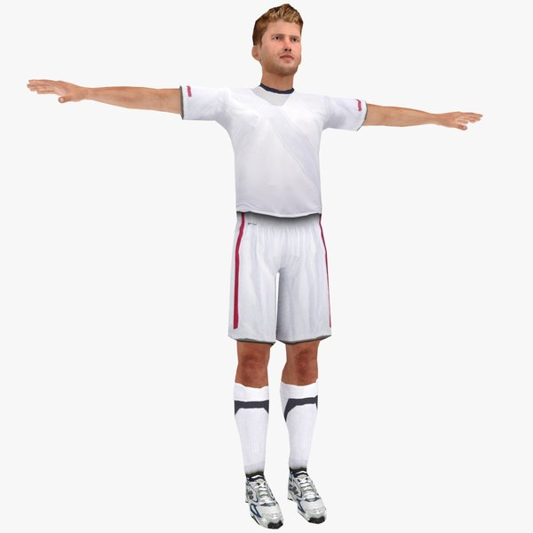 3d model realistic soccer player rigged