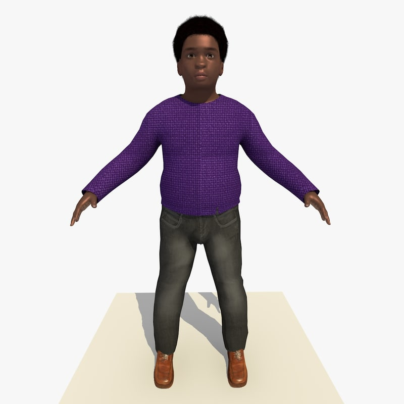african boy albert rigged male 3d model