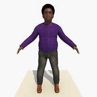 african boy albert rigged male 3d c4d