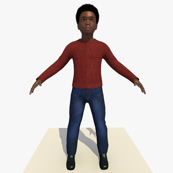 3d model of african boy laurence rigged male
