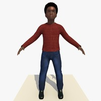 3d model african boy laurence rigged male