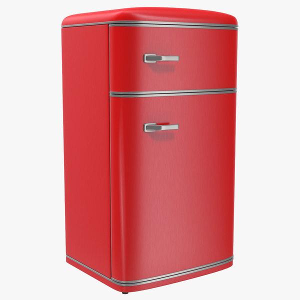 retro refrigerator red design 3d model