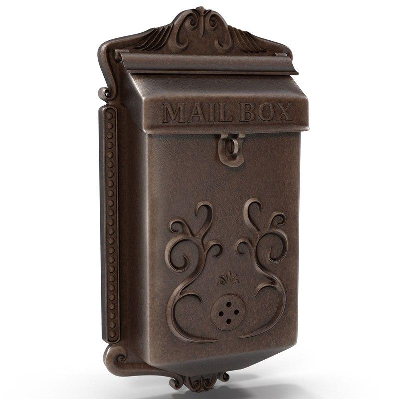 vintage wall mount mailbox 3d model