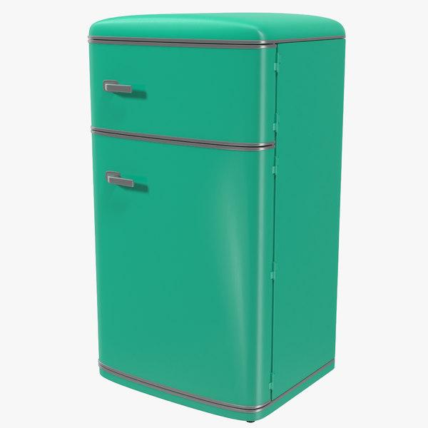 retro refrigerator green 3d model
