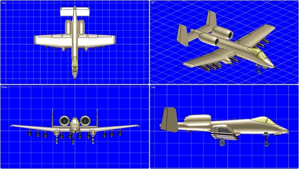 a-10a aircraft solid assembly 3d obj