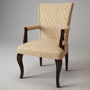 3dsmax baker tailored armchair 3481